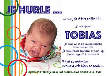 faire-part de naissance d'un petit garçon créé par Rachel Joubi