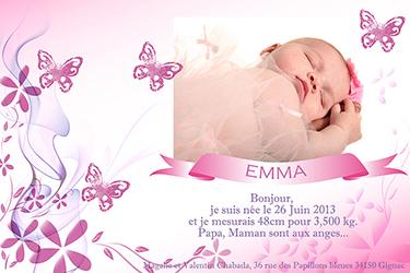 faire-part de naissance d'une petite fille créé par Rachel Joubi