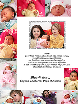 carte de remerciement de naissance créé par Rachel Joubi
