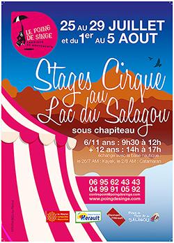 affiche pour un stage de cirque au lac du Salagou créée par Rachel Joubi
