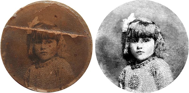 restauration d'une photo ancienne représentant une petite fille avec un gros pull en laine retouchée numériquement par Rachel Joubi
