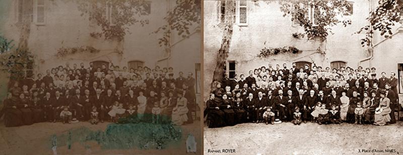 restauration d'une photo ancienne représentant un groupe de personnes retouchée numériquement par Rachel Joubi