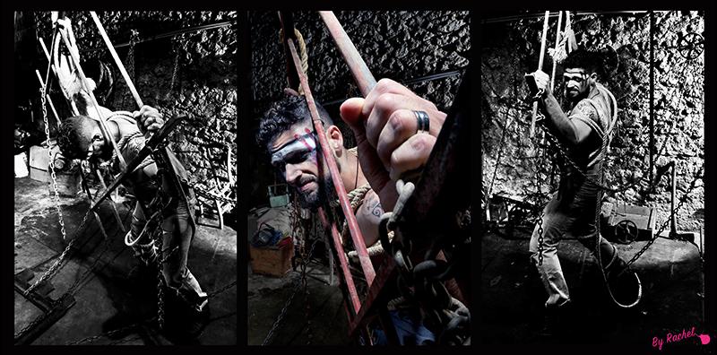 thème évolution pour l'expo photo de notre photographe Rachel Joubi exposition, version triptyque, homme épuisé enchaîné debout sur une grille à gros barreaux