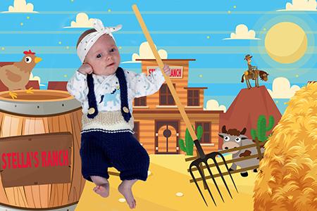 un joli bébé dans un western photographié en studio par Rachel Joubi, détouré et incrusté sur un fond numérique