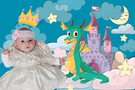 montage numérique d'un bébé photographié par Rachel Joubi